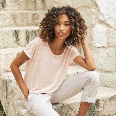 Linen T-Shirt - Pale Pink