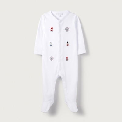 London Bear Embroidered Sleepsuit - The White Company