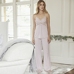 Lace Panel PJ Set - Dusty Pink
