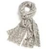 Leaf Print Scarf - Silver