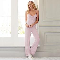 Semi Sheer Lace Pyjama Set - Dusty Pink