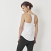 Curved Hem Loose Fitting Racer Back Top  - White