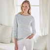 Linen Raglan Breton Sweater - Blue Stripe