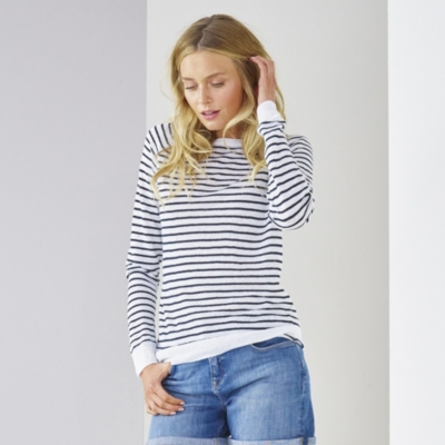 Linen Raglan Breton Sweater - White Navy