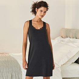 Lace Trim Rib Nightgown