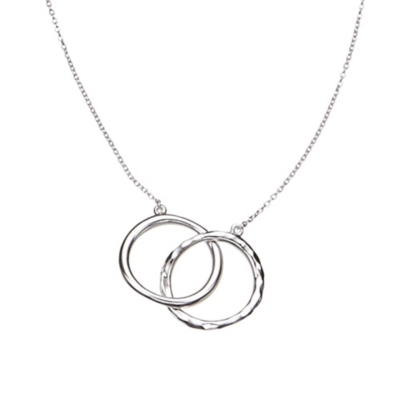 Linked Rings Silver Necklace