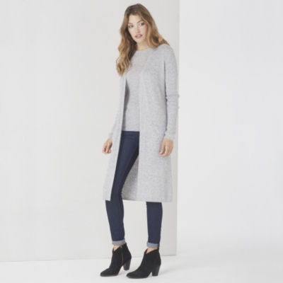 Long Ribbed Cardigan - Pale Gray Marl