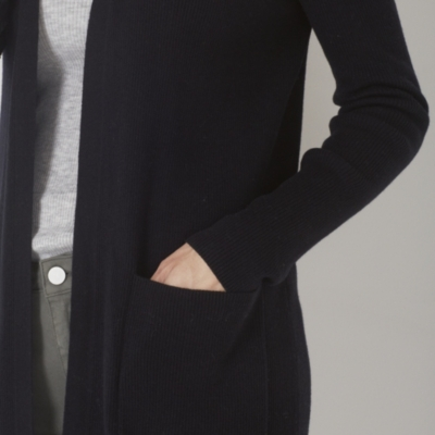 Long Ribbed Cardigan - Black