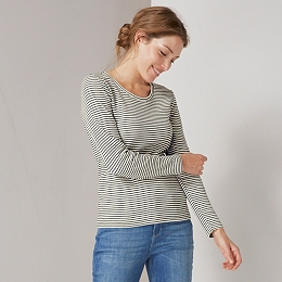 Ladder Rib Stripe Long-Sleeve T-Shirt