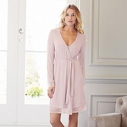 Semi Sheer Lace Robe - Dusty Pink