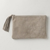 Large Suede Tassel Clutch - Stone
