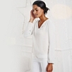 Long Sleeve Silk Blouse - Silver