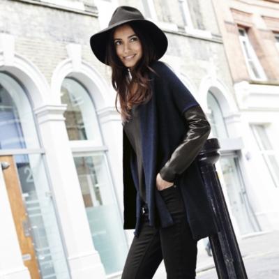 Leather Sleeve Cardigan