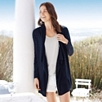 Linen Shawl Collar Cardigan - Navy