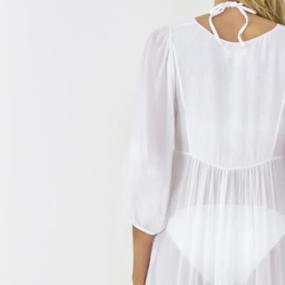 Long Silk Beach Cover Up - White