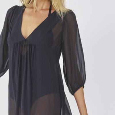 Long Silk Beach Cover Up - Black