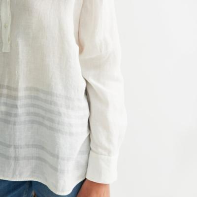 Linen Striped Hem Shirt