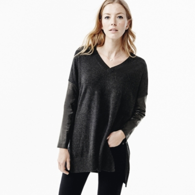Leather Sleeve Sweater - Dark Charcoal Marl