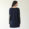 Leather Sleeve Sweater - Navy Marl