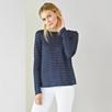 Lurex Stripe Crossback T-Shirt - Navy