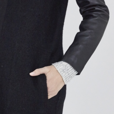 Leather Sleeve Boiled Wool Cardigan
