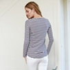 Stripe Long Sleeve Rib Tee - Navy White