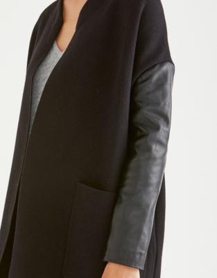 Leather Sleeve Coatigan