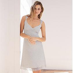Lace Shoulder Jersey Nightie - Cloud Marl