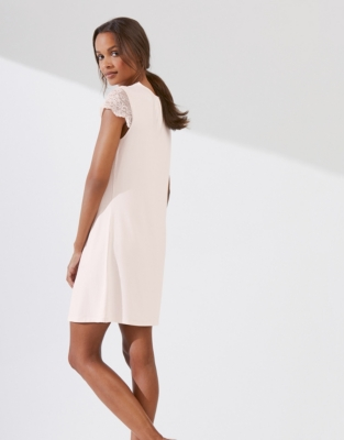 Lace Sleeve Jersey Nightgown