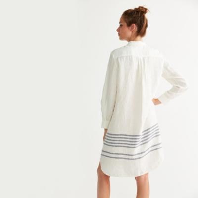 Linen Striped Hem Shirt Dress