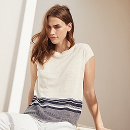 Linen Sleeveless Stripe Sweater