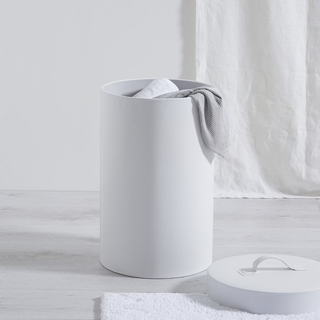 Leather Small Laundry Bin | Bathroom Accessories | The White Company UK