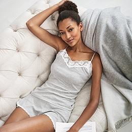 Lace Trim Camisole & Brief Pajama Set