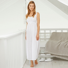 Lace Trim Dobby Long Night Gown
