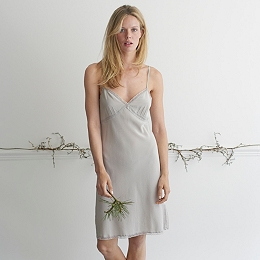 Lace Trim Night Gown - Silver Gray