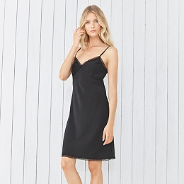 Lace Trim Night Gown - Black