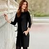 Leather Trim Ponte Dress