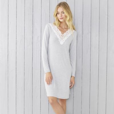 Stripe Lace Trim Long Sleeve Nightie - Grey White