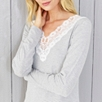 Lace Trim Long Sleeve Nightdress