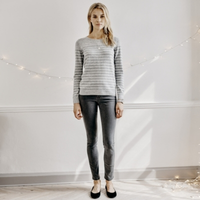 Lurex Stripe Sweater - Pale Gray Marl