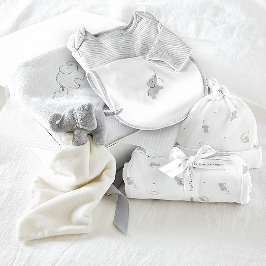 Luxury elephant baby gift set baby boys the white company uk luxury elephant baby gift set negle Images