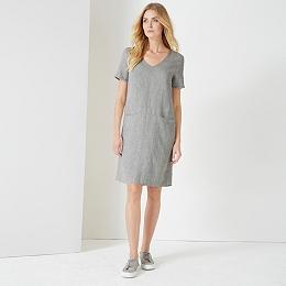 Linen V Neck Dress