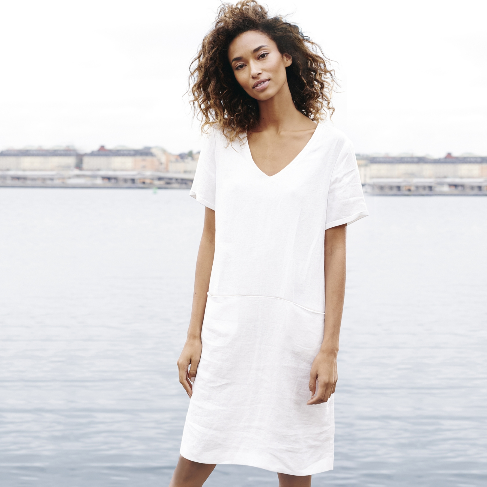 Linen V Neck Dress | Dresses & Tunics | The White Company UK