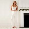 Mesh and Lace Trim Pajama Set  - Winter White