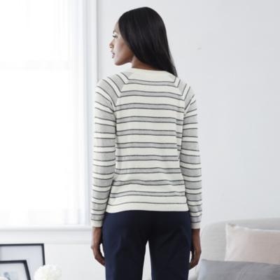 Tricolor Mesh Stripe Sweater