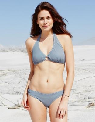 Mini Stripe Bikini Bottoms - White/Navy
