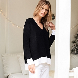 Monochrome V-Neck Sweater