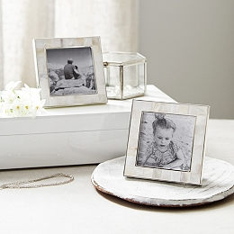 "Mother of Pearl Photo Frames 3x3"" - Set of 2"