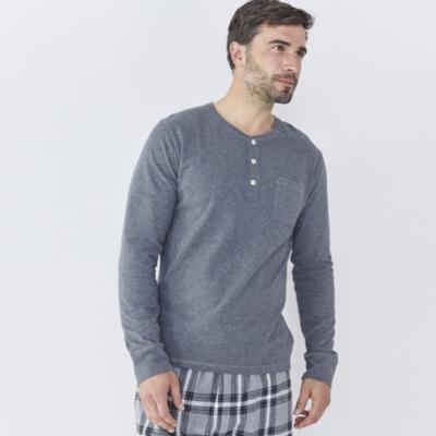 Pocket Henley Jersey Top - Mid Grey Marl