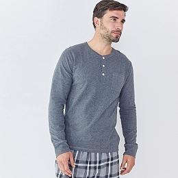Pocket Henley Top - Mid Gray Marl